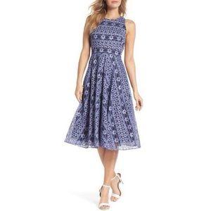 NWT Eliza J Blue Lace Floral Striped Midi Dress